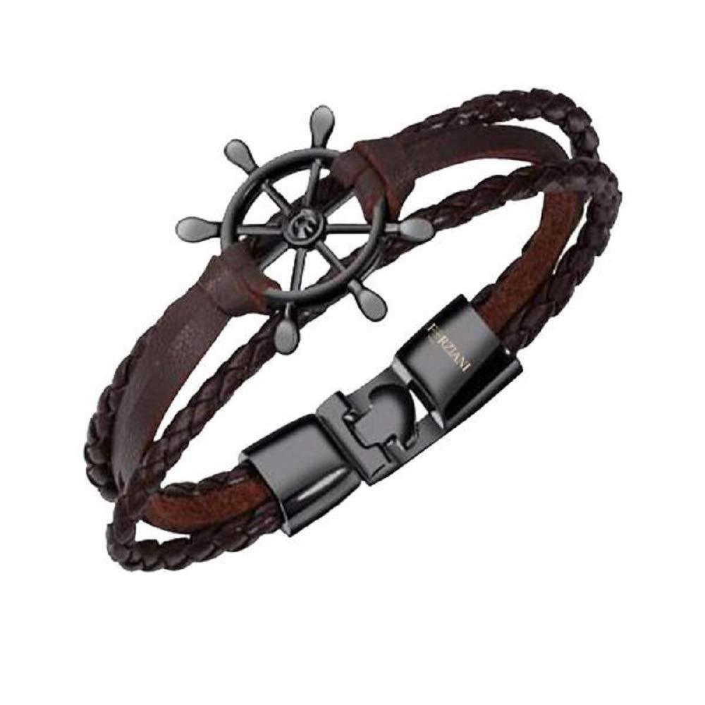 Forziani Nautical Wheel It is very popular Dark Brown Men's Bracelet Ranking TOP2 Leather B Cuff