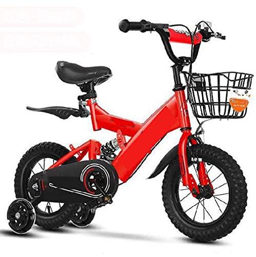 HUAQINEI Pedales para niños con Ruedas Intermitentes para niñas, niñas, Princesas, Bicicletas de Aprendizaje de Dos Ruedas, Bicicletas de Princesas para niñas, Rojo, 12 Pulgadas