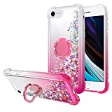 WORLDMOM for iPhone SE 2020 Case,for iPhone 7/8 Case,Bling Moving Liquid Floating Sparkle Colorful Glitter Waterfall TPU Protective Case with Rotation Ring Kickstand for Apple iPhone SE2, Rose Gold