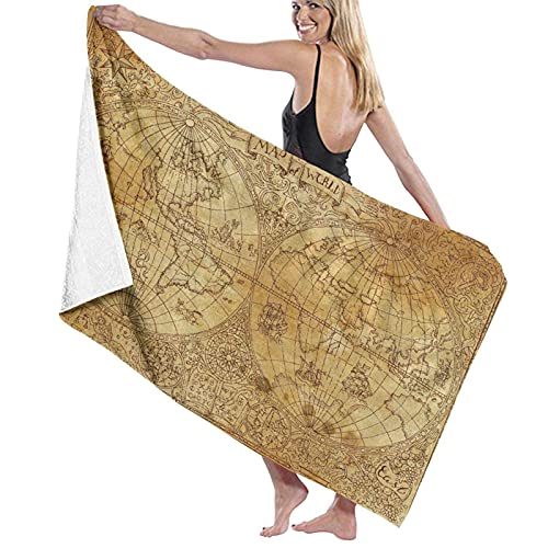 Spetlye Large Toalla de baño Blanket,Old Vintage Ancient Atlas Map Global World Drawing Cartography Pirate Travel Africa,Bath Sheet Beach Towel for Family Hotel Travel Swimming Sports,52' x 32'