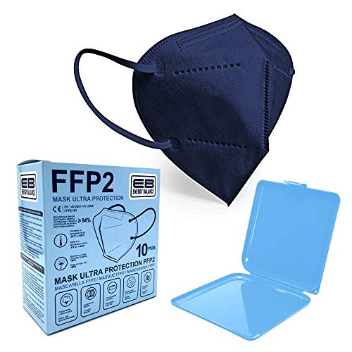 ENERGY BALANCE 10 FFP2 Maske blau CE + Maskenhalter, Atemschutzmaske - CE Zertifiziert EN 149 Schutzmaske, 5 Filtrationsschichten, Schützt drinnen und draußen (Blue 10)