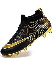 Men's High-top voetbalschoenen Boy's Soccer Atletiek Schoenen Spikes FG/AG Trainers Professionele Sneakers training outdoor schoenen Unisex Teenager (Color : Black, Size : 36)