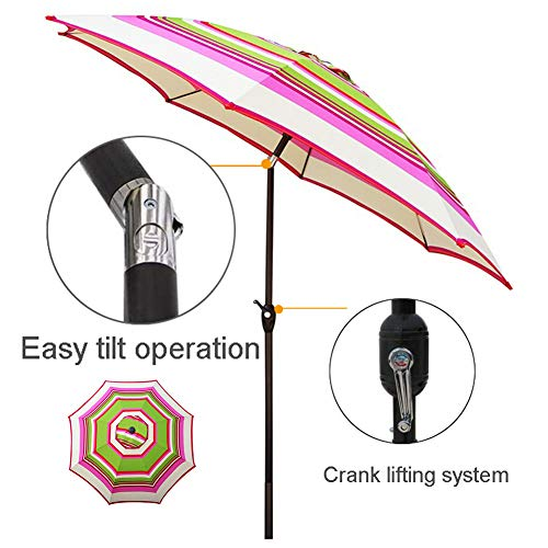 2.7m Tilting Garden Parasol Patio Umbrella,Folding Sun Shade,Windproof Crank Handle Waterproof for restaurant Wedding Party Store Lawn Market Striped Umbrella