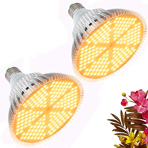 120W LED Grow Light Bulb, Sunlike Full Spectrum Plant Light Bulb 180 LEDs Grow Lamp for Indoor Plants Vegetables and Seedlings, E26/E27 Base Grow Light for Greenhouse, Organic Soil, Hydroponics 2 Pack