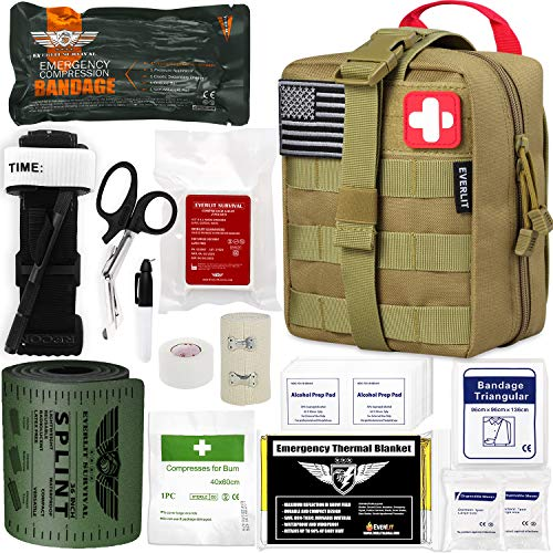"EVERLIT Emergency Trauma Kit GEN-I with Aluminum Tourniquet 36"" Splint, Military Combat Tactical IFAK for First Aid Response, Critical Wounds, Gun Shots, Severe Bleeding Control"