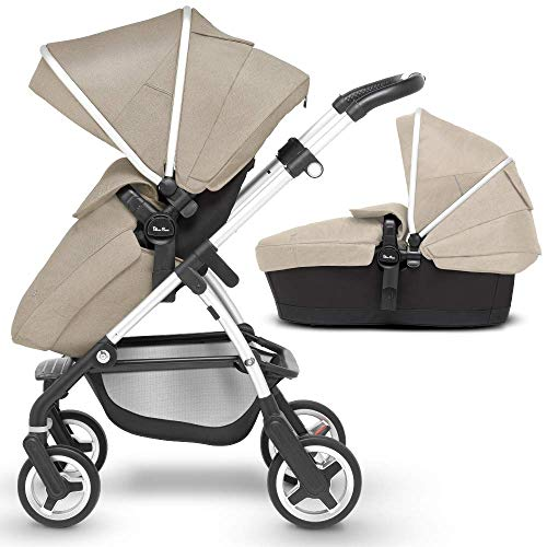 Silver Cross Wayfarer Compact Pram with Pushchair and Carry-Cot 2-in-1 Lightweight System for Newborn Baby to Toddler, Midnight Blue