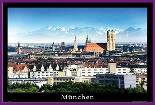 Deutsche Städte - München Deutschland Germany City Architektur Poster Plakat - Grösse 91,5x61 cm + Wechselrahmen, Shinsuke® Maxi Kunststoff Lila, Acryl-Scheibe