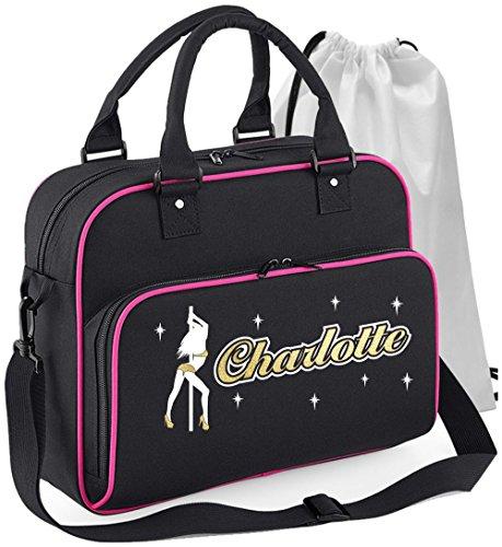 MusicaliTee Pole Fitness Dancing - Lady Dancer - SCHWARZ + ROSA Pink - Personalisierte Tanztasche & Schuh Tasche Dance Shoe Bags