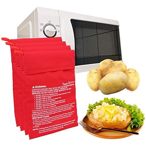 4 Piezas Bolsa de Papa para Microondas,Patata Microondas BolsaLavable Reutilizable Bolsa de...