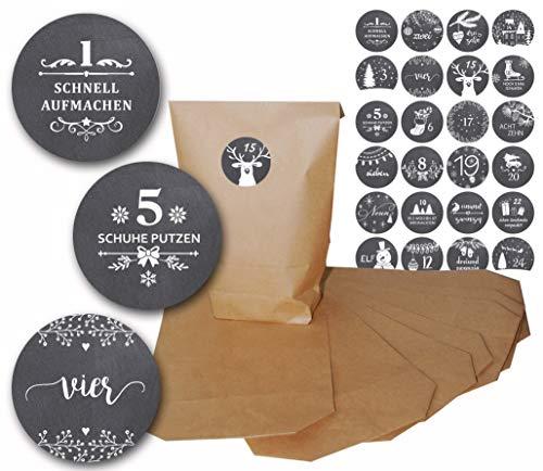 Adventskalender-Set zum Selbst befüllen und basteln mit 24 Kraftpapiertüten und 24 Zahlen-Aufkleber Vintage Design (Tafel Winter)
