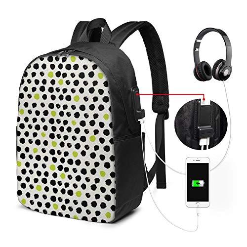 Schulrucksack Mit USB Port Jungen Mädchen Teenager, Rucksack Schule Laptop Rucksack für Herren Damen Daypacks für 15,6 Zoll Laptop Rucksack Formloses kreisförmiges Pflaster