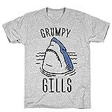 LookHUMAN Grumpy Gills Shark XL Athletic Gray Men's Cotton Tee