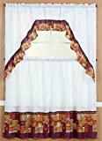 Jasmine Linen 3-Piece Printed Kitchen Curtain Window Treatment Set Curtain Tier (Coffee-2)