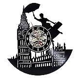 wtnhz LED-Reloj de Pared de Vinilo Retro de la Ciudad de Londres, diseño Moderno, decoración escénica en 3D, Reloj de Bolsillo con Registro de Vinilo, Reloj de Bolsillo, decoración del hogar