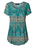 Vinmatto Women's Scoop Neck Pleated Blouse Top Tunic Shirt(M,Multi Green Blue)