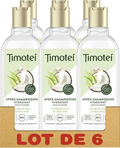 Timotei Après-Shampooing Femme Hydratant Coco & Aloe Vera, Douceur et Légereté, Cheveux normaux à secs, Sans silicone - Lot de 6 x 300ml