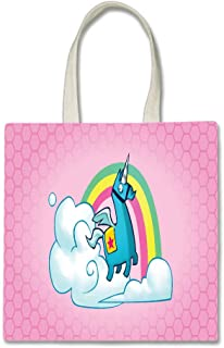 Rainbow Unicorn Pink Background Design Printed Tote Bag, 14.5x15