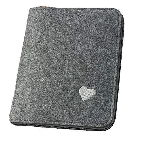 Mom's Organizer 'Little Heart' mit Reißverschluss, grau (Farbe wählbar) | Hülle A5 für Mutterpass & U-Heft aus Filz