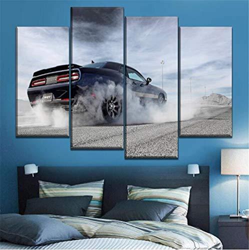 ZKPWLHS Leinwanddrucke 4 Stück Fahrzeug Rauch Hd Bild Dodge Challenger Poster Modulare Wandkunst Wohnzimmer Dekoration Mit Rahmen Größe A