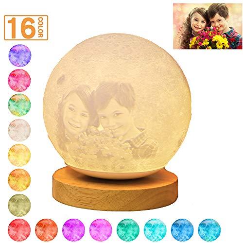 16 Farbe Custom Photo 3D Mond Tischlampe personalisierte Nachtlicht kostenpflichtige Bett Licht Hochzeitstag Weihnachtsgeschenk für Kinder