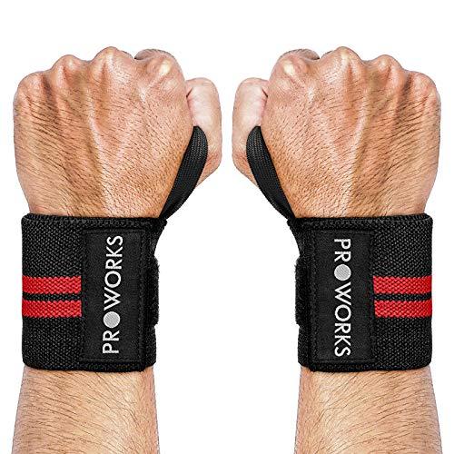 Proworks Eine Größe Passt Allen Verstellbare Schwarze Gewichtheben & Krafttraining Hangelenk Bandagen Unterstützung (x2)