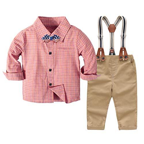Nwada Baby Bekleidungssets für Jungen Kinder Anzug Set Weihnachten Kleidung Rosa Karierte Hemd und Hose und Fliege 3-4 Jahre