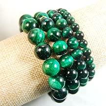 Tiger's Eye Gemstone Round Beads Stretchy Bracelet 6mm 8mm 10mm 12mm (10mm, Green)