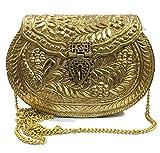 Trend Overseas Bolso para mujer, colección Diwali, Regalo de Navidad, Embrague de fiesta, Embragues de metal dorado, Monedero vintage, Bolso de latón, Embrague de mano antiguo, Embrague étnico