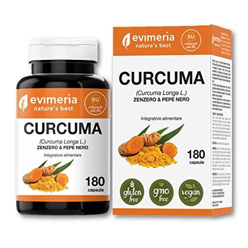 Curcuma, piperina, zenzero integratore alimentare, dimagrante, brucia grassi, drenante, vitamina c e k B6, antinfiammatorio, antiossidante, regolatore intestinale. 180 capsule Evimeria