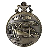 JewelryWe Men Airplane Pocket Watch Vintage Fokker DR.1 Pendant Watch Bronze Necklace Watch with Chain, for Xmas