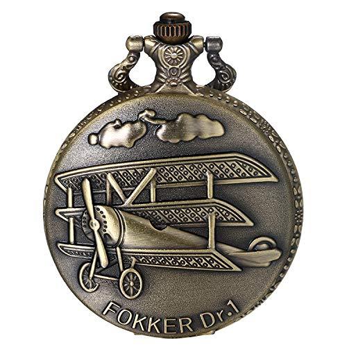 JewelryWe Herren Taschenuhr Retro 3D Flugzeuge Fokker Dr.1 Skulptur Steampunk Quarz Analog Uhr mit Kette Halskette Bronze Geschenk
