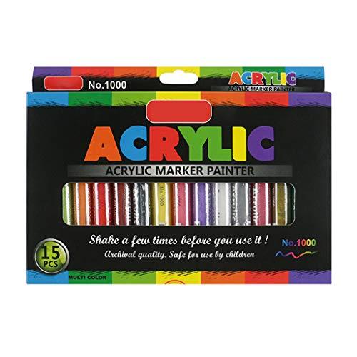 WAHSBAG WT-DDJJK Rotuladores, rotulador de Pintura acrílica de 4/8/12/15/24/36 Colores, Marcado detallado para álbum de Bricolaje