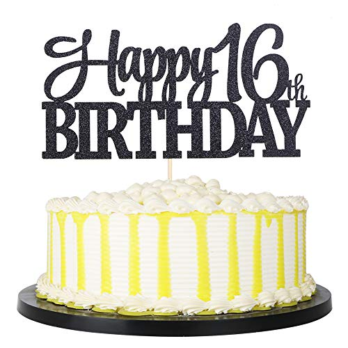 Black Glitter Happy 16th Birthday cake topper (comes in many different numbers)