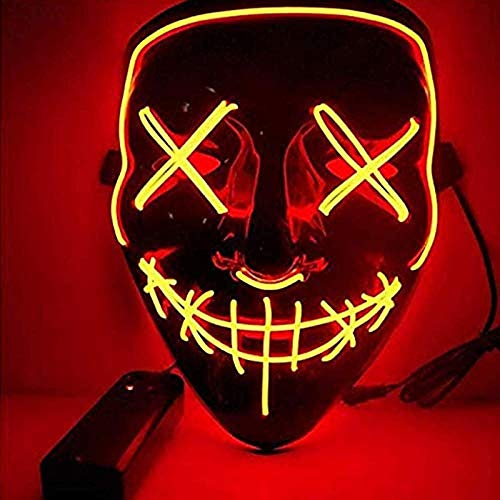 Sinwind LED Purge Maske, The Purge Maske, Halloween Maske LED, LED Mask mit 3 Blitzmodi für Party Halloween Fasching Karneval Kostüm Cosplay Dekoration