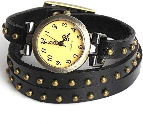 OUTLETISSIMO® - Reloj de pulsera de piel con tachuelas para mujer, esfera y pulsera con cabeza de Moro UA45 (Reloj)