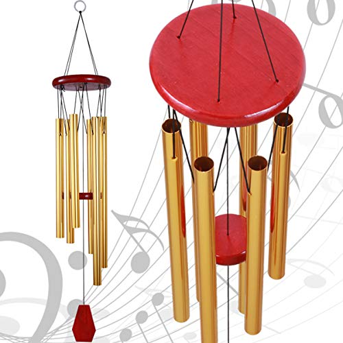 35 Inch Medium Wind Chimes Outdoor/Indoor Decorative Mobile Hanging Windchime 6 Gold Tubes Musical Windchimes Hand Made Quality Gift Wind Chimes for Xmas Mom Gifts Home Garden Patio Balcony Decor