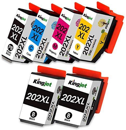 Kingjet Compatibile Epson 202 202 XL Cartucce d'inchiostro Sostituzione per Epson Expression Premium XP-6000 XP-6005 XP-6001 XP-6105 XP-6100 (2Nero, Nero Foto, Ciano, Magenta, Giallo)