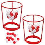 2 Pack Head Hoop Basketball Party Game for Kids and Adults Carnival Game Adjustable Basket Net Headband with 20 Balls for Carnival Party Birthday Party Family Indoor Outdoor Game