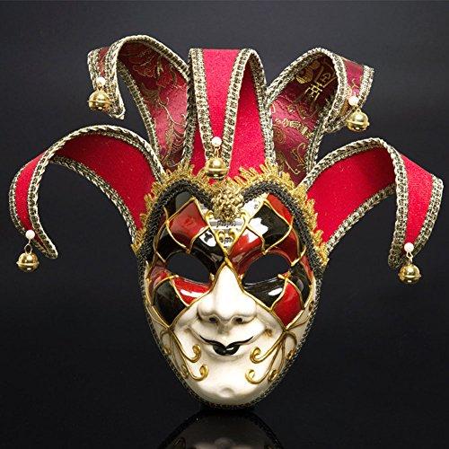 Máscaras venecianas romanas griegas máscara máscara disfraz de Halloween vestido de fiesta decoración suministros máscara con personalidad (rojo)