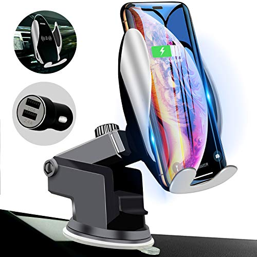 Qi Wireless Car Charger Mount Automatic Clamping Peteme Dashboard Air Vent Gravity Sensor Phone Holder Compatible with iPhone X/Xs MAX/XS/XR/X/8/8+,Samsung S10/S10+/S9/S9+/S8/S8+