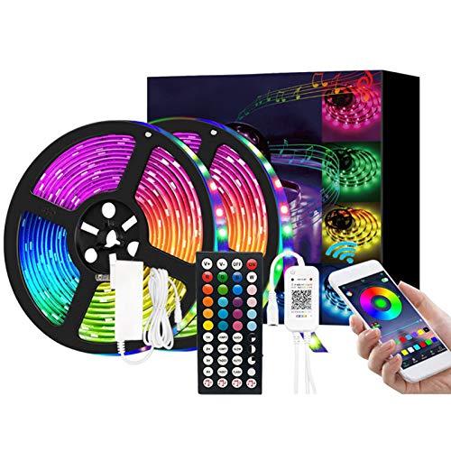 LTLCBB Tiras LED,Tira de Luz de Cambio de Color RGB de Música con Control Remoto 44 Teclas Control Remoto IR 5050 Kit de Tira de Luz para Hogar,Fiesta,Cocina TV-App controlada,49.2ft/15m 270 Leds