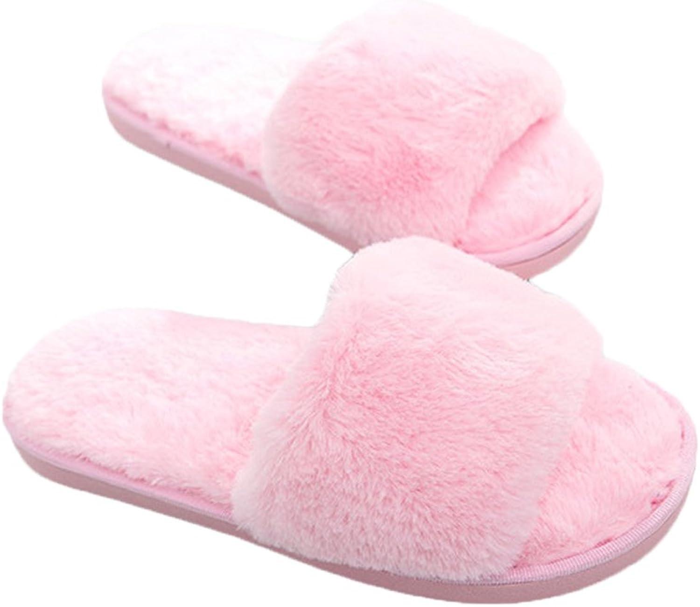MineSign Womens House Slippers Faux Fur Slides Fuzzy Slippers Open Toe Foam Winter Warm Slipper