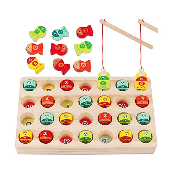 Apfity Wooden Magnetic Fishing Game Toy for Kids, Montessori Toys for Toddlers 2 3 4 Year Olds, ABC Alphabet Letter Puzzle Fine Motor Skill Learning Toys Ages 2-4