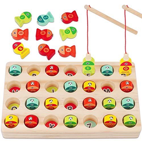 Magnetic Fishing Game for Kids, Apfity Montessori Wooden Toys for Toddlers, Alphabet Puzzle Fishing Educational Learning Toys for 2 3 4 5 Year Olds