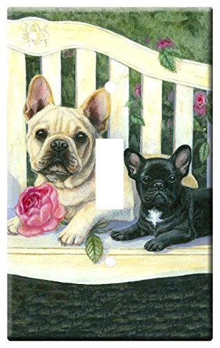 Gone Doggin French Bulldog 6B Single Toggle Light Switch Plate – Metal Wall Plate Frenchie Dog Art