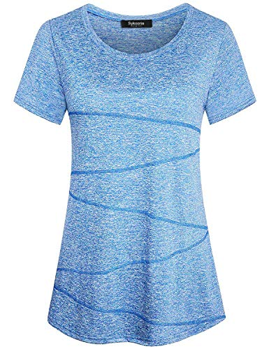 Sykooria Sportshirt Damen Kurzarm Atmungsaktiv Leicht Dehnbar Sommer Yoga Gym Fitness Tshirt Damen Tops Blau