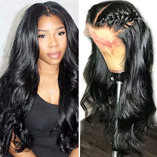 Maxine Pre Plucked 360 Lace Frontal Wigs Body Wave Lace Front Human Hair Wigs for Women Natural Hairline with Baby Hair Natural Color 150% Density Brazilian Hair Wig Slightly Bleached Knots 14inch