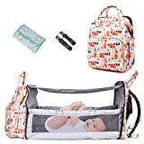 Diaper Bag Backpack Foldable Portable Baby Bed, Travel Bassinet Baby Cribs with Mattress Included, Multifunction Nappy Bag with USB Charge Port Changing Station (Bag+Bed+USB)
