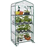 Best Choice Products 27x19x63in 4-Tier Mini Greenhouse w/Plastic Cover, Roll-Up Zipper Door, Sturdy Steel Shelves