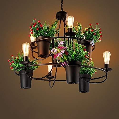 BOC Beleuchtung Kronleuchter Länder Netto Retro CAF & Eacute; -Restaurant Eisen Kronleuchter Blumenladen Topfpflanze Größe: 87 * 100 cm A ++,Schwarz